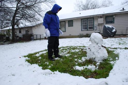 Hubby's Snowman Masterpiece