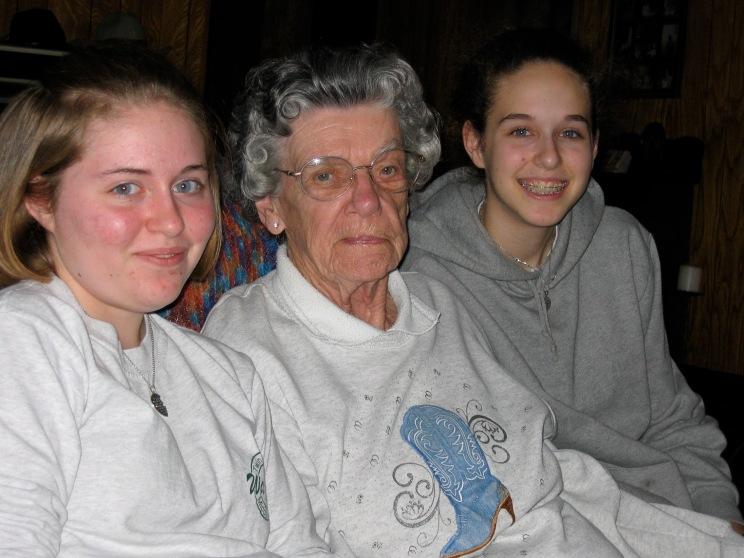 Shelby, Haley + Great Grandma Dorothy March 2004