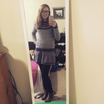 Sweater from Target, Dress from Boutique in NC, Pants from Stitch Fix #3 and Ankle Boots