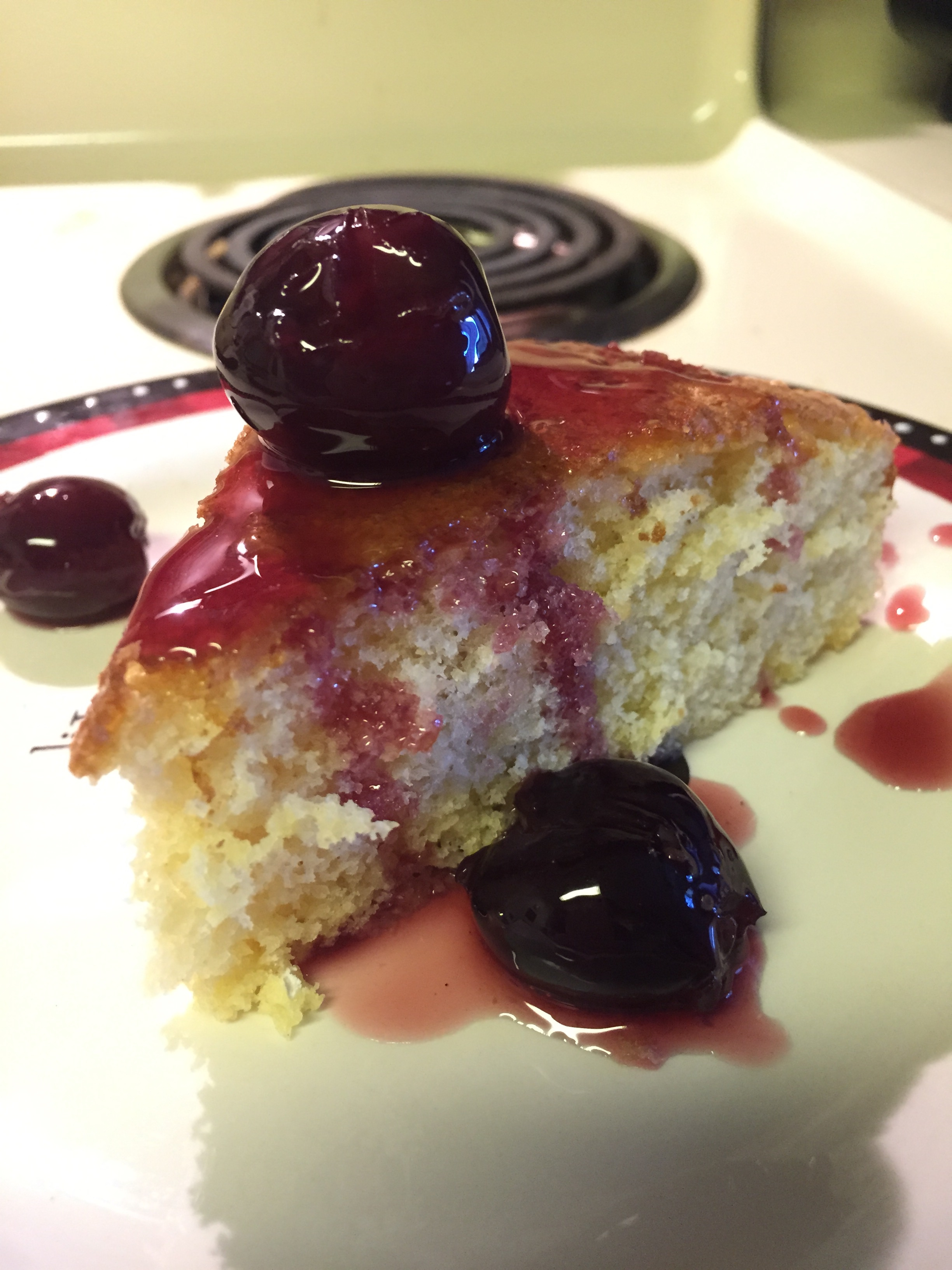 Dessert: Olive Oil Cake with Cherry Compote
