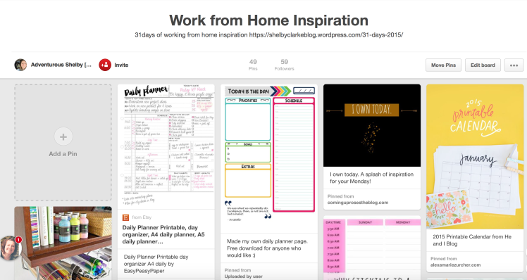 Work from Home Pinterest board
