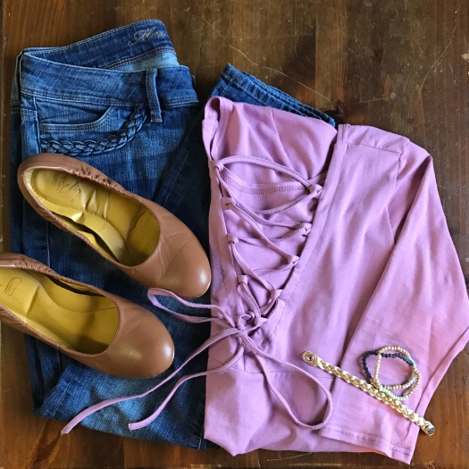 Juliet Top with Ankle Skinny jeans & Ballet Flats