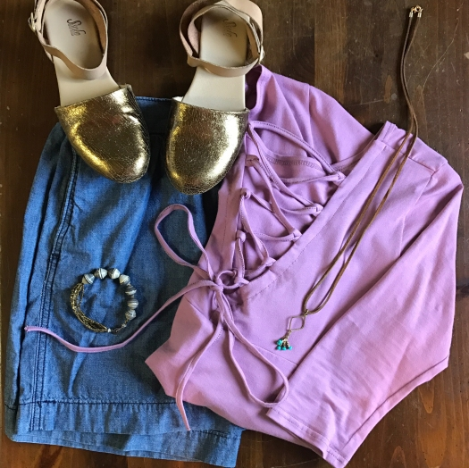 Juliet Top with Chambray Skirt & D'Orsay flats
