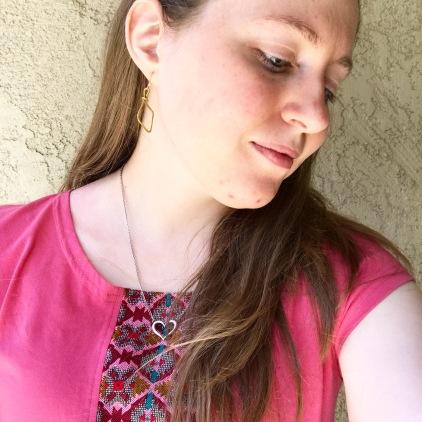 Sseko Brave Earrings and my Lynda top from Elegantees