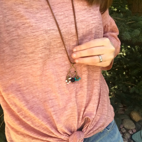 Sseko Brave Necklace with Confidence, Peace, and Adventure charms